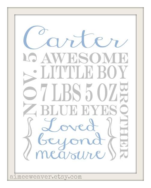 Baby name info Boy 8x10 FINAL