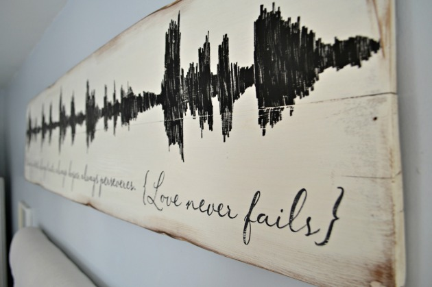 wood soundwave art