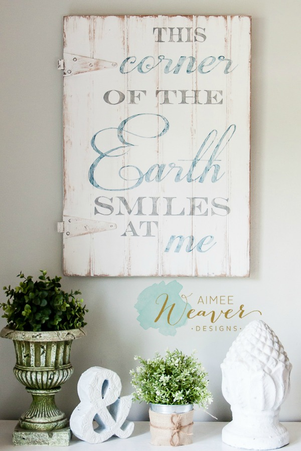 This corner of the earth smiles at me wood sign by Aimee Weaver Designs