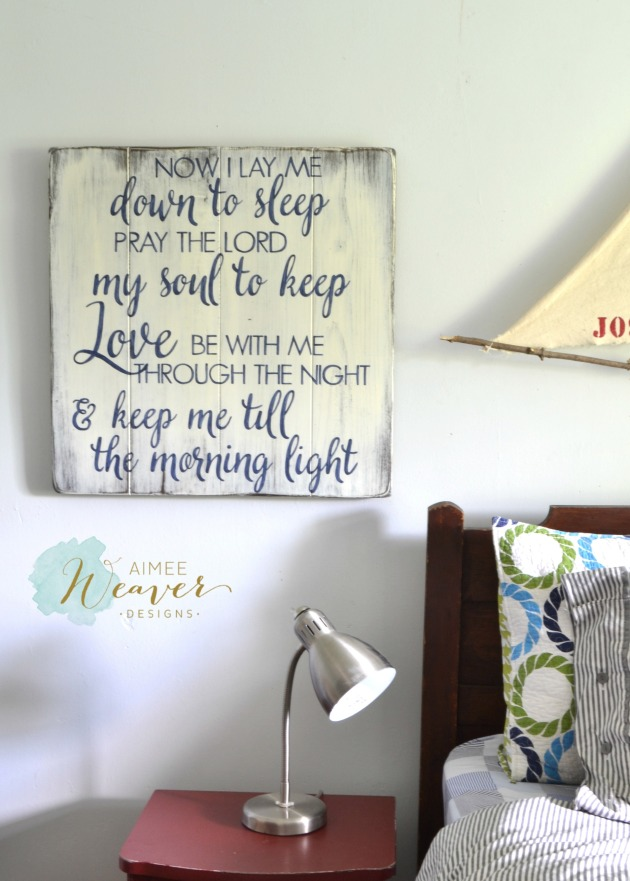 Now I lay me down to sleep wood sign by Aimee Weaver Designs