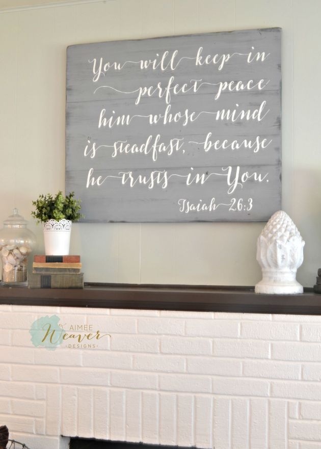 You will keep him in perfect peace - wood sign by Aimee Weaver Designs