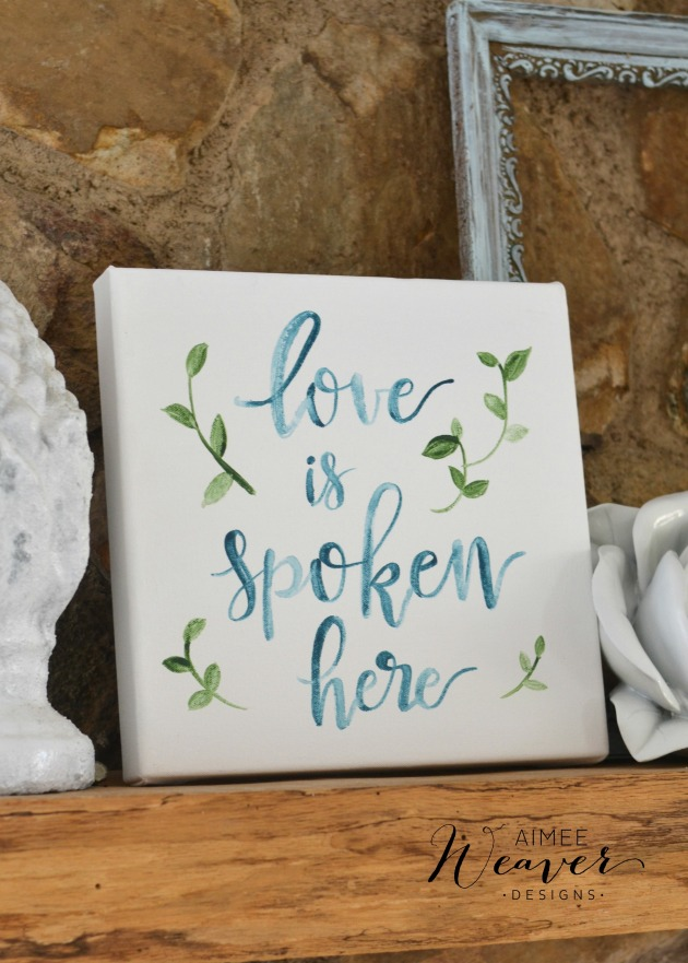 Love is spoken here canvas by Aimee Weaver Designs