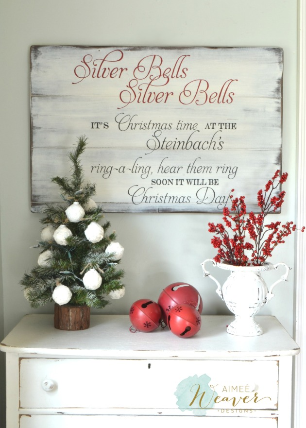 Silver Bells wood sign by Aimee Weaver Designs