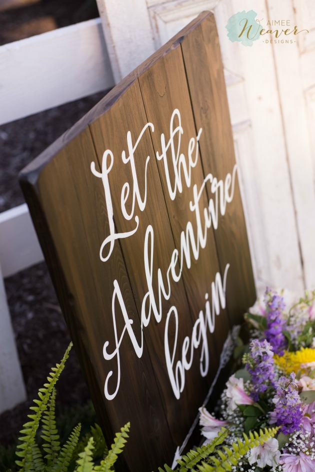 Let the adventure begin wedding wood sign by Aimee Weaver Designs