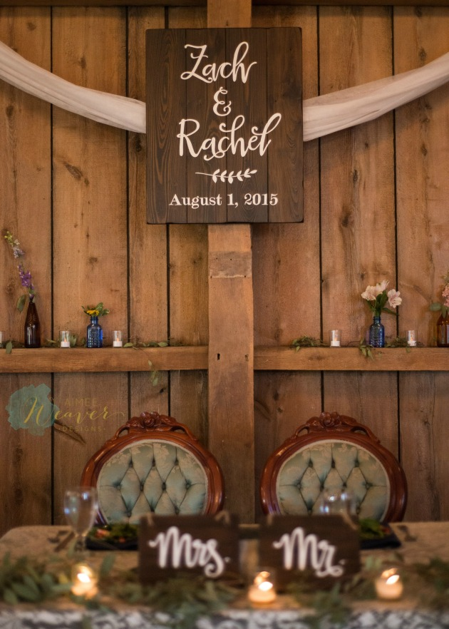 Wedding names and date wood sign by Aimee Weaver Designs