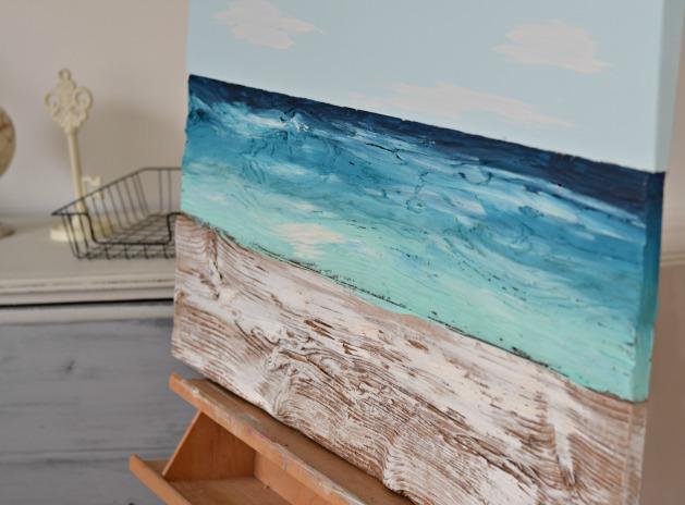 wood ocean painting