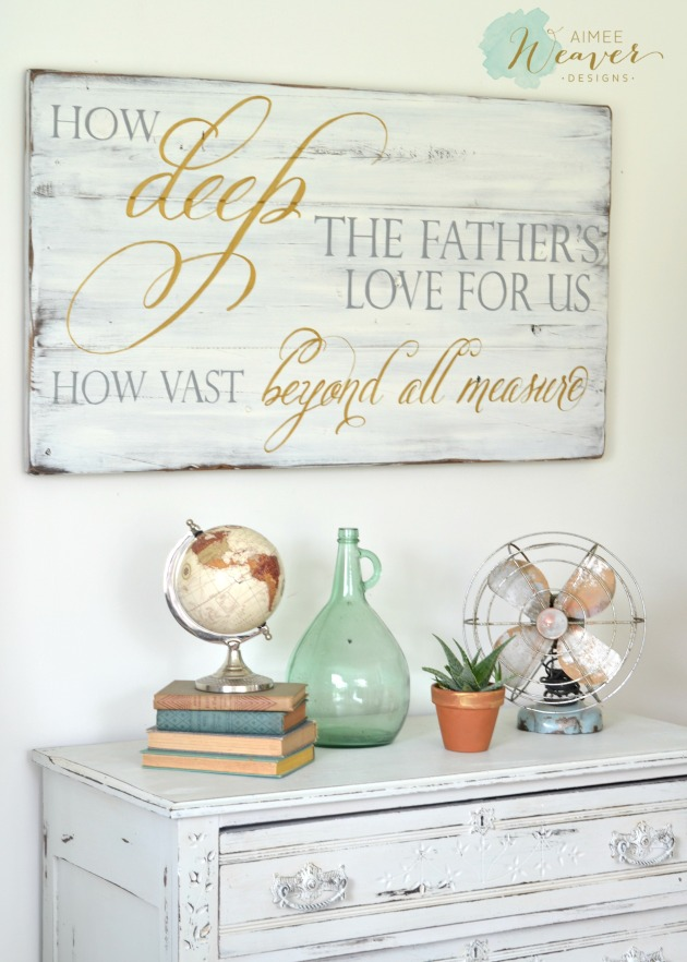 How deep the father's love for us wood sign by Aimee Weaver Designs