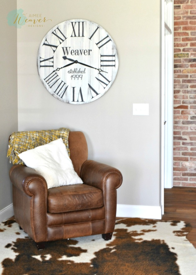 Wood personalized clock by Aimee Weaver Designs