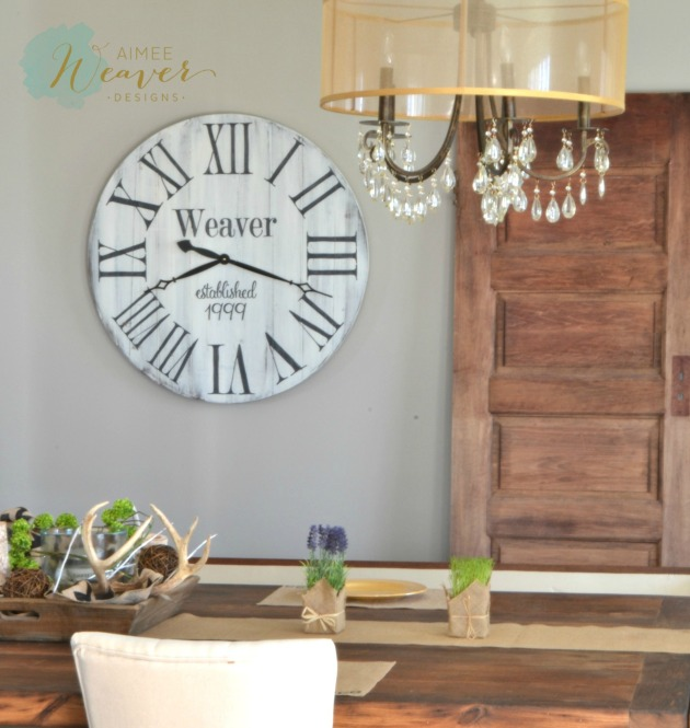 Reclaimed wood clock by Aimee Weaver Designs