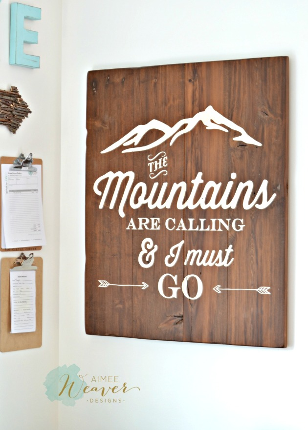 The mountains are calling wood sign by Aimee Weaver Designs